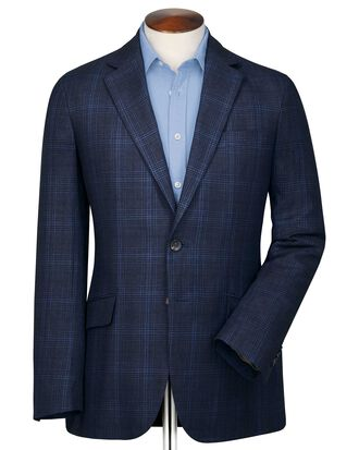 Slim fit indigo Prince of Wales check linen mix jacket