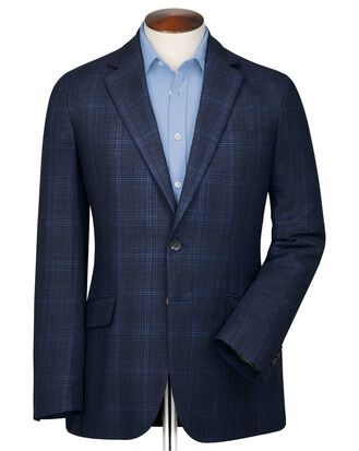 Slim fit indigo Prince of Wales check linen mix jacket