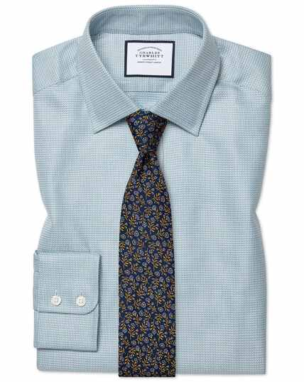 Classic fit Egyptian cotton chevron teal shirt