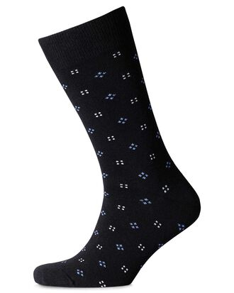 Black and multi micro square socks