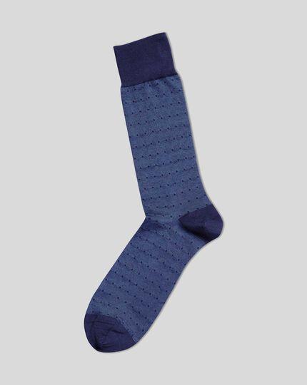 Jacquard Spot Socks - Blue