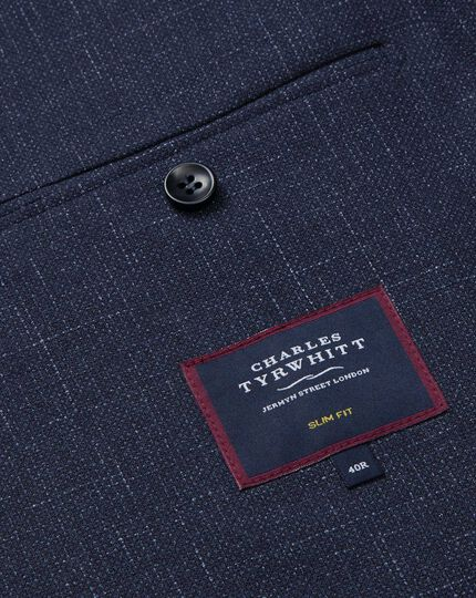 Textured Wool Blend Suit Jacket - Navy