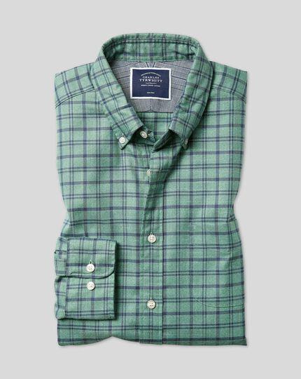 Vorgewaschenes bügelfreies Twill Hemd mit Button-down-Kragen und Karos - Blaugrün