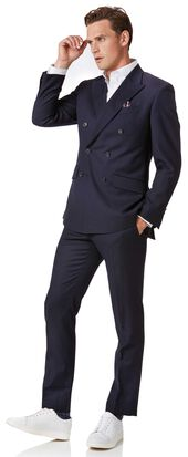 Navy blue twill slim fit DB Business suit