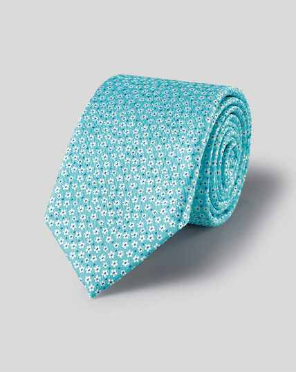 Silk Ditsy Floral Tie - Light Blue