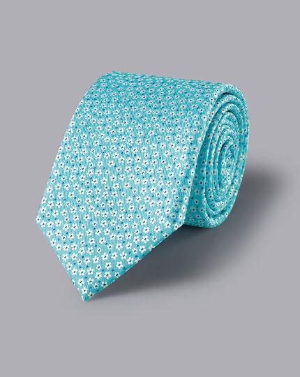 Silk Ditsy Floral Tie - Light Blue