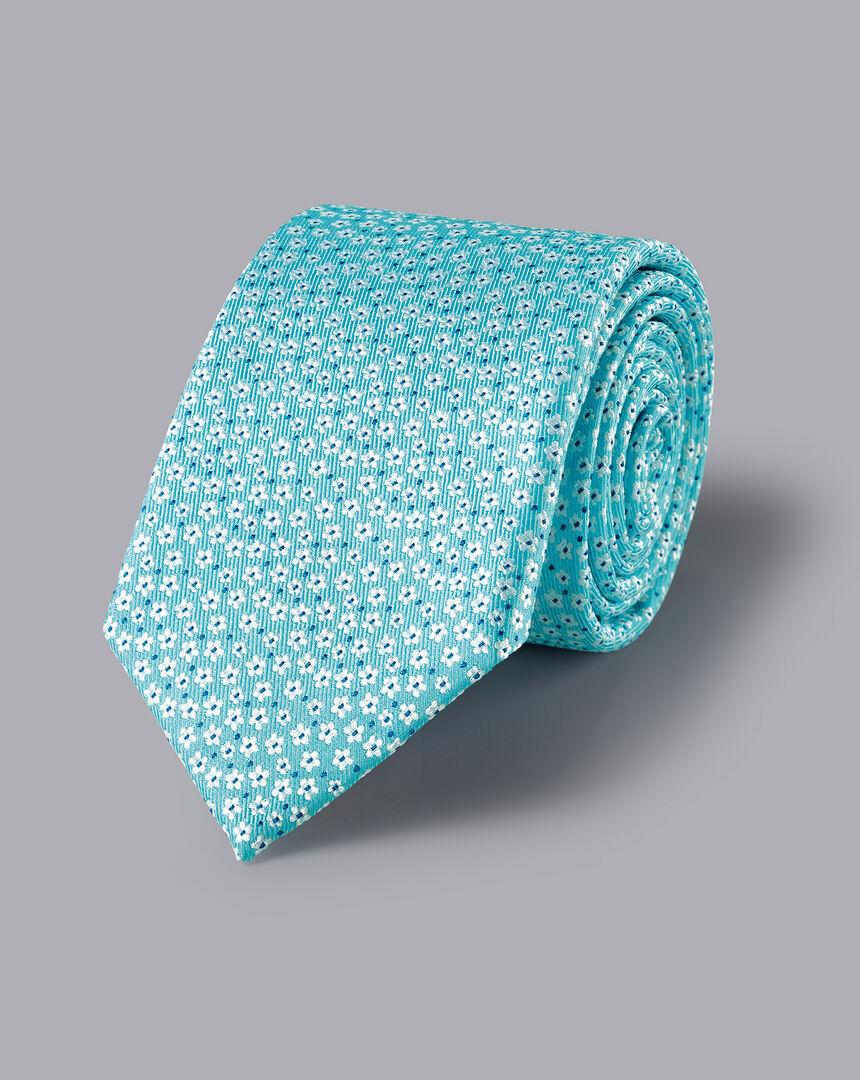 Krawatte aus Seide mit Blumenmuster - Himmelblau