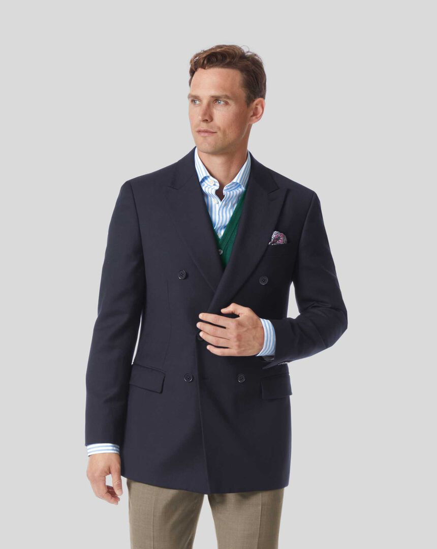 Plain Wool Double Breasted Blazer - Navy