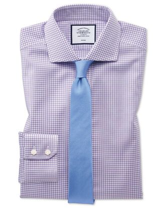 Extra slim fit non-iron spread collar lilac grid check Oxford stretch shirt