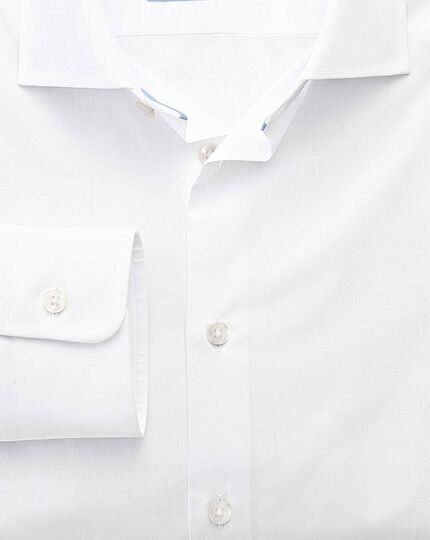 Extra slim fit semi-spread collar business casual white shirt