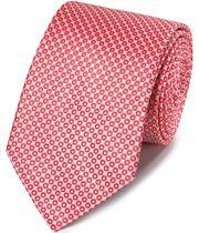 Cravate classique corail et blanche à motif cercles