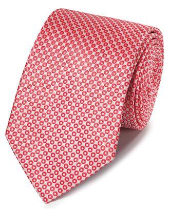 Klassische Krawatte mit Kreismuster in Korallenrot & Weiß