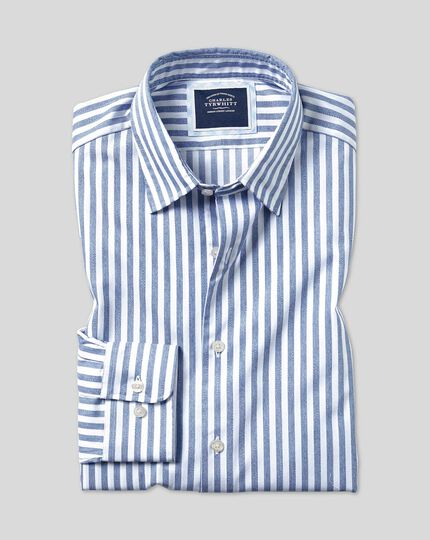 Classic Collar Soft Washed Stripe Shirt - Light Blue