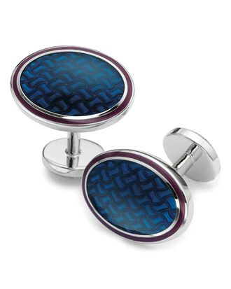 Navy enamel basketweave oval cufflinks