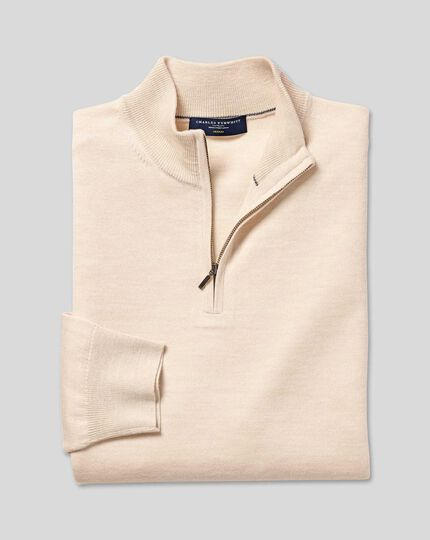 Merino Zip Neck Jumper - Stone