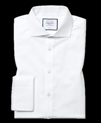Chemise blanche coupe droite en popeline à col cutaway sans repassage