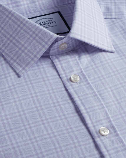 Brushed-Back Basketweave Check Shirt - Lilac