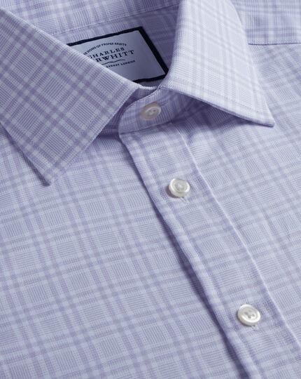 Brushed-Back Basketweave Check Shirt - Lilac