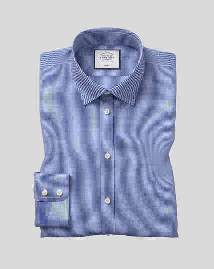 Classic Collar Non-Iron Puppytooth Shirt  - Royal Blue