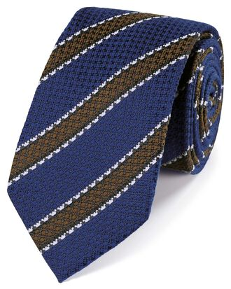Royal blue wool and silk stripe classic tie