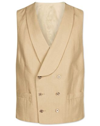 Natural adjustable fit linen morning suit vest