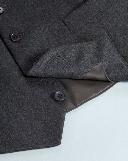 Charcoal and blue adjustable fit stripe flannel suit waistcoat