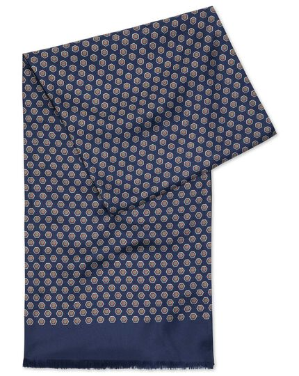 Navy printed silk scarf