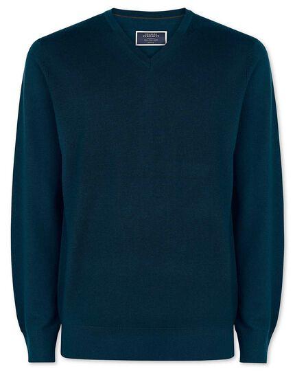Merino-Pullover mit V-Ausschnitt in Aquamarin
