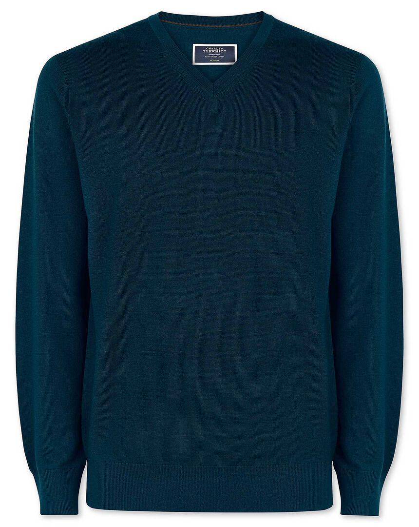 Teal merino v neck sweater