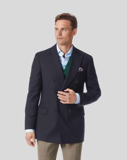 Plain Wool Blazer - Navy