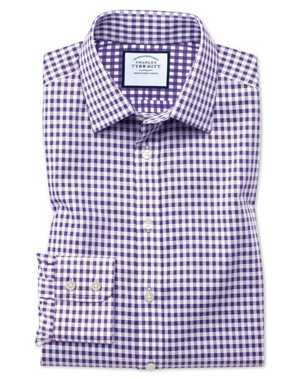 Extra slim fit non-iron gingham purple shirt