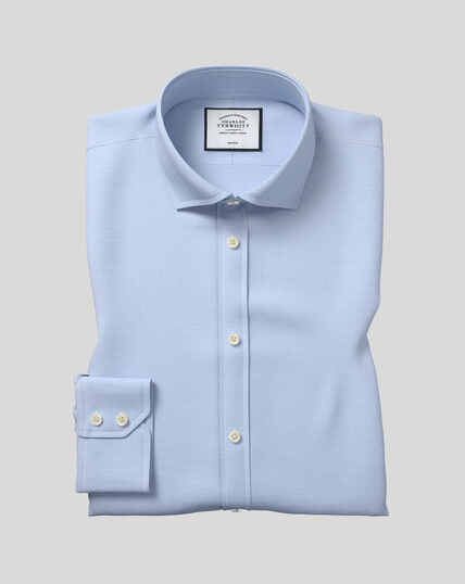 Cutaway Collar Non-Iron Puppytooth Shirt  - Sky