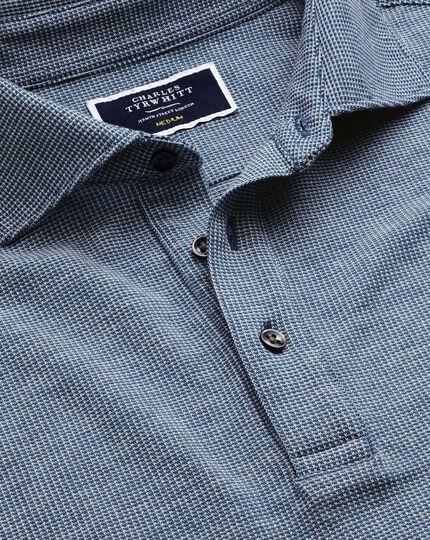 Langärmeliges, strukturiertes Polohemd in Blau und Weiß
