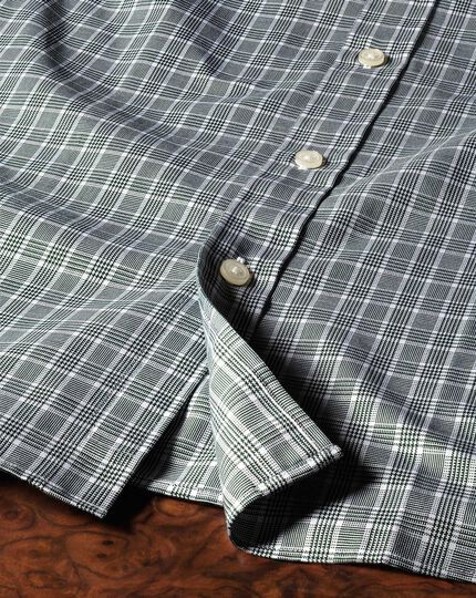 Extra slim fit Prince of Wales basketweave green shirt