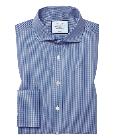 Extra slim fit non-iron cutaway royal blue puppytooth shirt