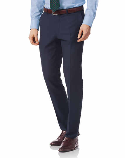 Navy slim fit twill Italian luxury suit trouser