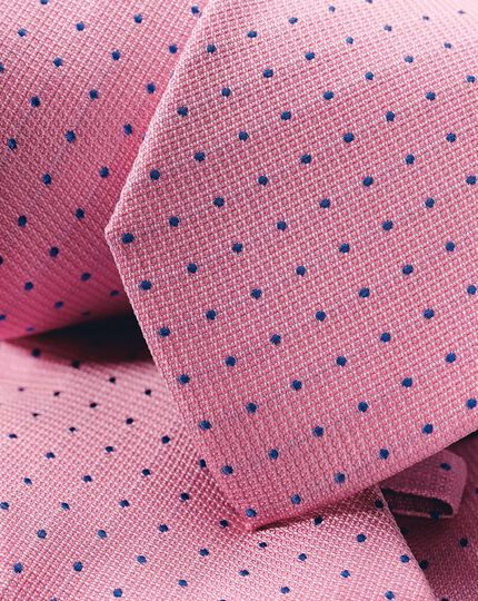 Spot Silk Cotton Blend Tie