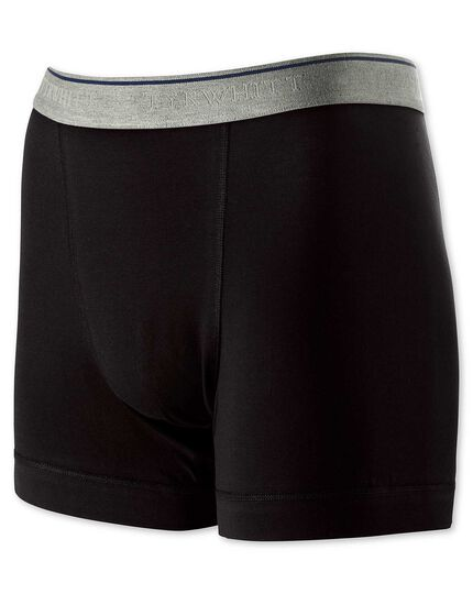 Black cotton stretch jersey trunks