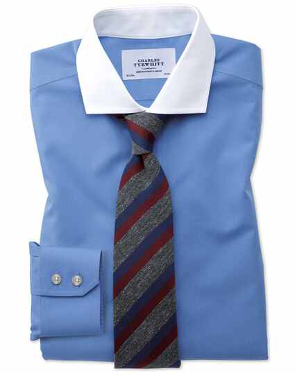 Slim fit cutaway non-iron Winchester blue shirt