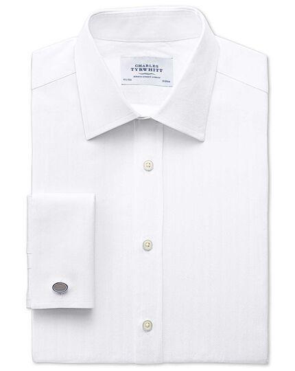 Classic Fit Pima Cotton Herringbone White Shirt Charles