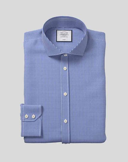 Cutaway Collar Non-Iron Puppytooth Shirt  - Royal Blue