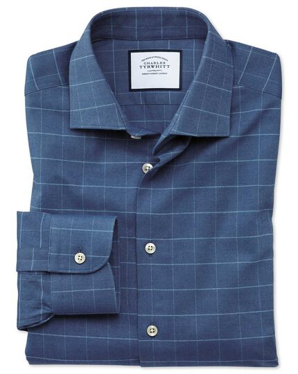 Slim fit business casual mid-blue check soft cotton shirt