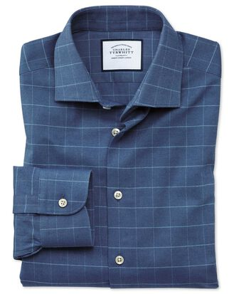 Extra slim fit business casual mid-blue grid check soft cotton shirt