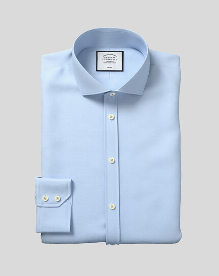 Spread Collar Non-Iron Tyrwhitt Cool Poplin Shirt - Sky