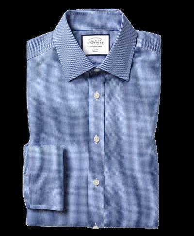 Bügelfreies Hemd mit Kent Kragen und Hahnentrittmuster  - Königsblau