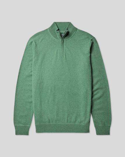 Pull laine mérinos et cachemire à col camionneur - Vert clair