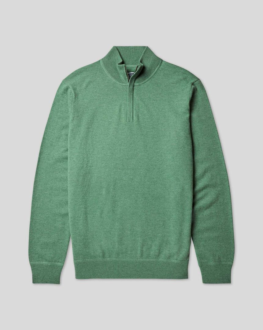 Merino Cashmere Zip Neck Sweater - Green