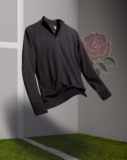 England Rugby Merino Zip Neck Jumper - Dark Charcoal