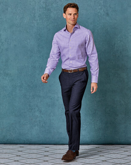 Slim fit business casual Egyptian cotton slub lilac check shirt