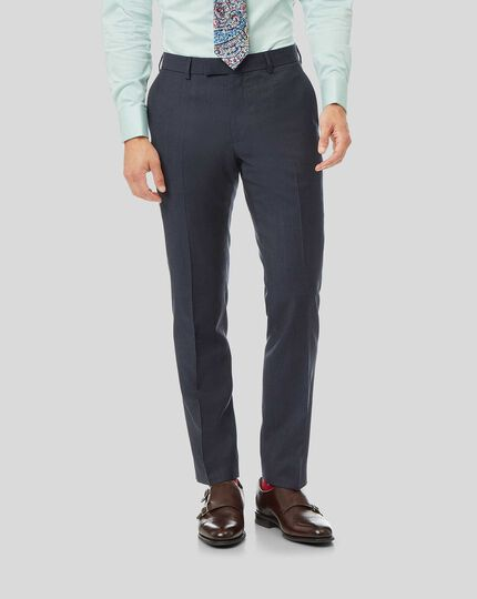 Natural Stretch Italian Stripe Suit Trousers - Airforce Blue